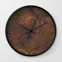 Chocolate Brown Swirls and Spirals Wall Clock