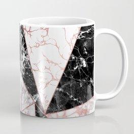 Geometrical rose gold black pink marble triangles Coffee Mug