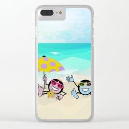 """""""Pops"""" Emoji Beach Scene Clear iPhone Case"""