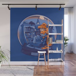I Love Books and Cats Wall Mural