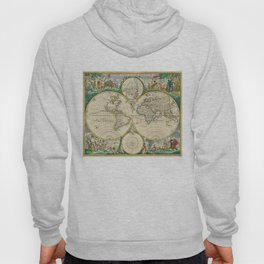 Vintage Map of The World (1670) Hoody