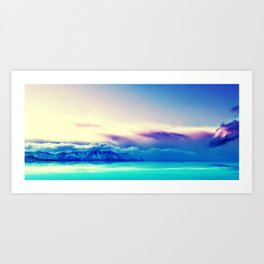 Panoramic image of purple sunset over mountain lake Art Print
