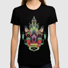 Botanical castle SMALL Womens Fitted Tee Black