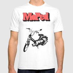 Moped White Mens Fitted Tee MEDIUM