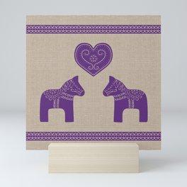 Christmas Purple Dala Horses on Burlap Mini Art Print