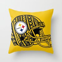 steelers Throw Pillows featuring Polynesian style Steelers by Lonica Photography & Poly Designs