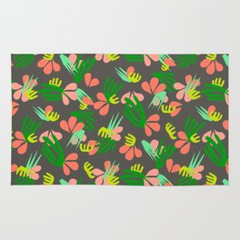 Henri's Garden in gray // tropical flora pattern Rug