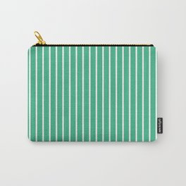 Vertical Lines (White/Mint) Carry-All Pouch