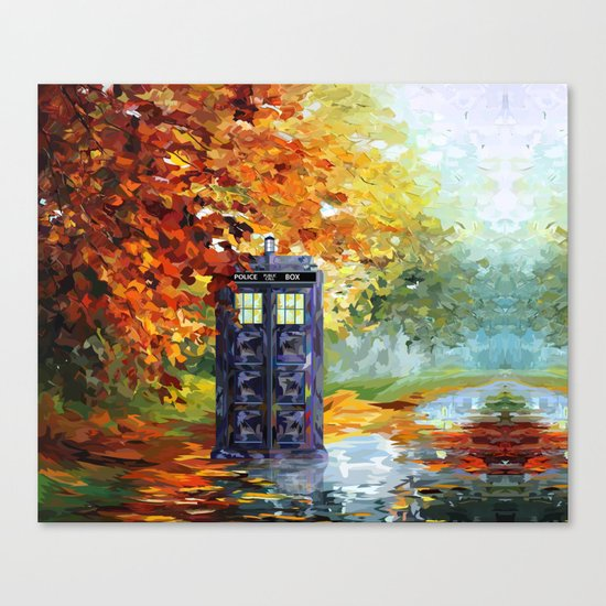 starry Autumn blue phone box Digital Art iPhone 4 4s 5 5c 6, pillow case, mugs and tshirt Canvas Print
