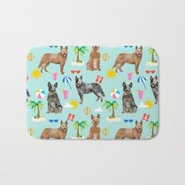 Australian Cattle Dog beach tropical pet friendly dog breed dog pattern art Bath Mat