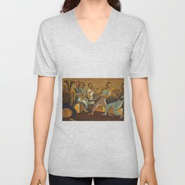 African American Masterpiece 'Harlem Musicians' WPA musical painting by Elizabeth Olds Unisex V-Neck