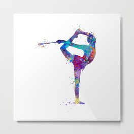 Rhythmic Gymnastics Girl Clubs Gymnastic Clubs Gift Colorful Watercolor Art Flexible Girls Metal Print