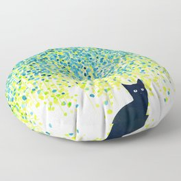Cat in the garden under willow tree Floor Pillow
