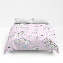 Unicorn & Rainbows Light Pink Comforters
