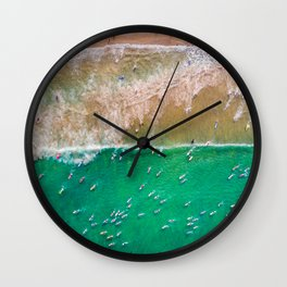 Surfers Paddling Out Wall Clock
