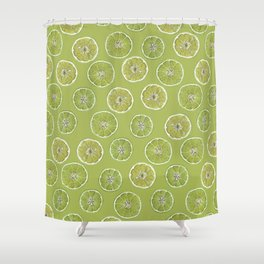 Lime Oranges Pattern Shower Curtain