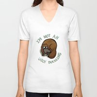 platypus V-neck T-shirts featuring The platypus problem by Simplasticity