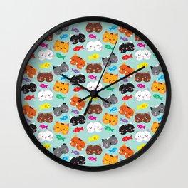 Cats Love Fish I Wall Clock