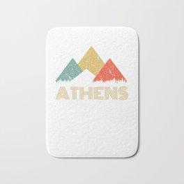 Retro City of Athens Mountain Shirt Bath Mat