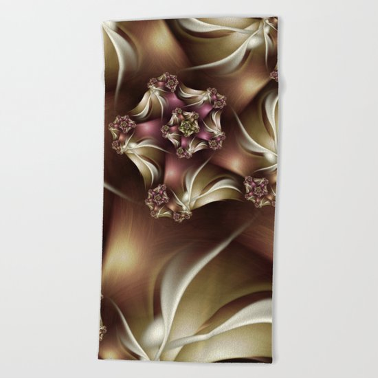 Abiding Fractal Spiral in Brown, White and Pink Beach Towel