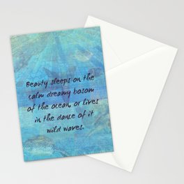 Ocean waves sea quote with sea life Stationery Cards