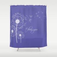 dentist Shower Curtains featuring I floss you (purple) by ProBoutique