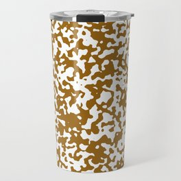 Small Spots - White and Golden Brown Travel Mug