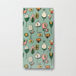 Retro Paper Flower Green Metal Print