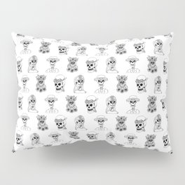 Dia De Los Muertos Black and White Pattern Pillow Sham