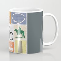 kansas Mugs featuring Kansas City Landmark Print by Jenna Davis Designs