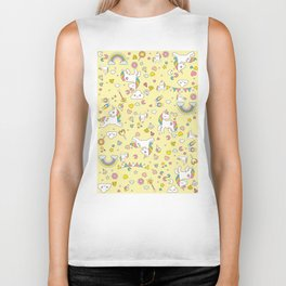 Unicorn Yellow Pattern Biker Tank
