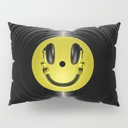 Vinyl headphone smiley Pillow Sham