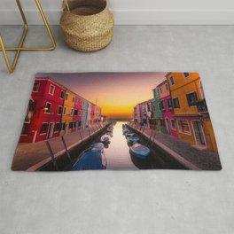 Burano Island, Venice, Italy at sunrise Rug