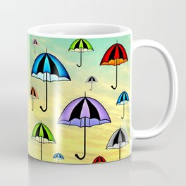 Colorful umbrellas flying in the sky Coffee Mug