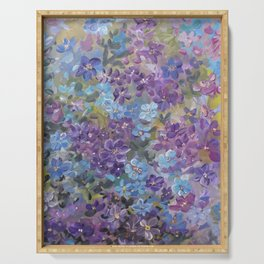 Garden Glory ..in blue and purple Serving Tray