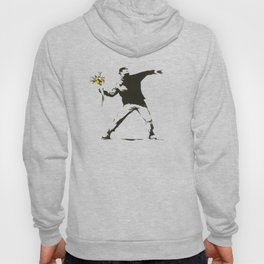 Banksy - Man Throwing Flowers - Antifa vs Police Manifestation Design For Men, Women, Poster Hoody