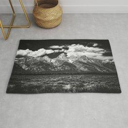 Mountain Summer Escape - Black and White Tetons Rug