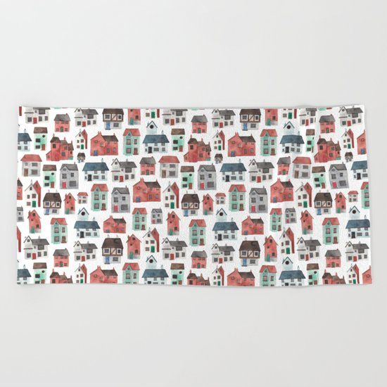 Watercolour Houses Beach Towel