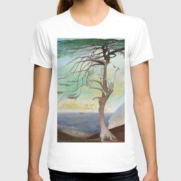 Lonely Cedar Tree Landscape Painting T-shirt