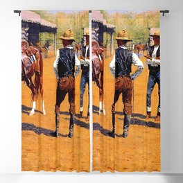 """Frederic Remington Western Art """"Buying Ponies"""" Blackout Curtain"""