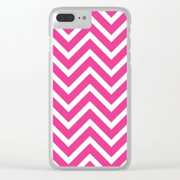 Pink zig zack pattern Clear iPhone Case