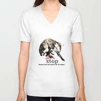 hunting V-neck T-shirts featuring Hunting foxes by Design4u Studio