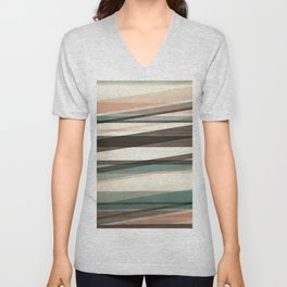 Semi Transparent Layers In Peach Brown And Green Unisex V-Neck