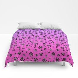 Paw Prints Pink Purple Gradient Comforters
