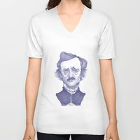 edgar allen poe V-neck T-shirts featuring Edgar Allan Poe illustration by Stavros Damos