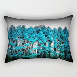 Turquoise Trees Gray Sky Rectangular Pillow