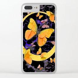 BLACK & YELLOW BUTTERFLIES VIGNETTE ABSTRACT ART Clear iPhone Case