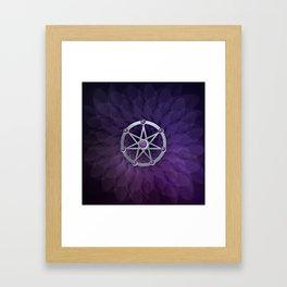 Elven star SIlver embossed with Amethyst Framed Art Print