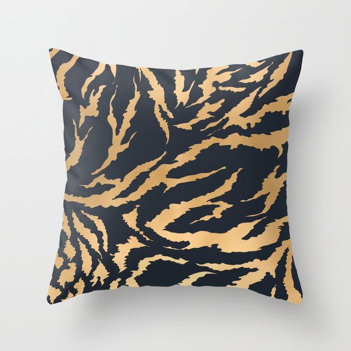 Tiger Fur Pattern Navy Gold Throw Pillow By Bluebanana