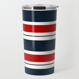 Red, White, and Blue Horizontal Striped Travel Mug